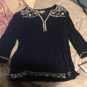 Dress Barn blue flower work shirt small 💙